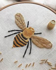 another up of the honey bee embroidery