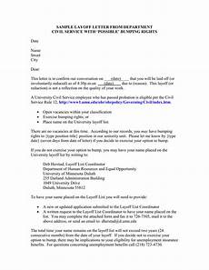Layoff Letter Layoff Letter With Possible Bumping Rights Civil Service