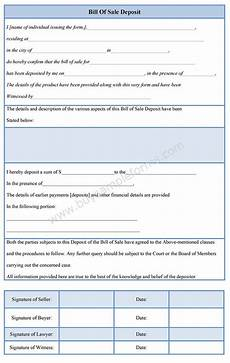Bill Of Sale Form Download Download Online A Bill Of Sale Deposit Template Either In