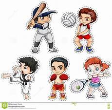 uomini che fanno sport insieme dell autoadesivo dei bambini che fanno molti sport