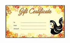 Hair Salon Gift Certificate Template Free Certificate Templates Blank Gift Certificate Template