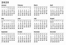12 Months Calendar 2020 Printable Free Yearly Printable Calendar 2020 With Holidays