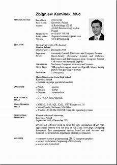 Cv Format In English Cv Word In English