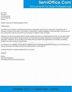 Sample Letter Requesting A Meeting Request For Meeting Appointment Sample Letter