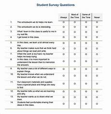 Student Survey Questions Free 7 Sample Student Survey Templates In Pdf Ms Word