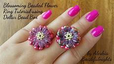blossoming beaded flower ring tutorial using dollar bead