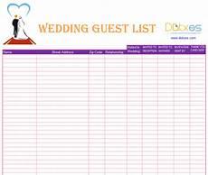 Wedding Guest List Spread Sheet A Preofesional Excel Blank Wedding Guest List List