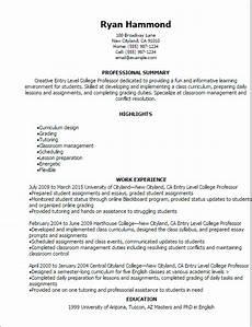Professor Resume Examples 1 Entry Level College Professor Resume Templates Try
