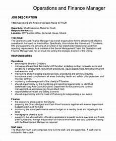 Operations Associate Job Description Free 10 Sample Financial Manager Job Description