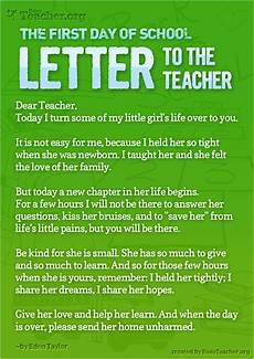 Letters To Teachers From Students The First Day Of School Letter To The Teacher Poster