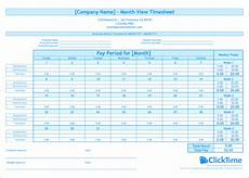 Wages Timesheet Template Free Monthly Timesheet Template Clicktime