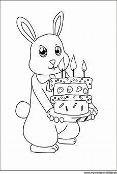 Malvorlage Hase Pdf Ausmalbild Hase Mit Geburtstagstorte