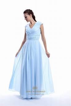 Light Blue Dress Cap Sleeves Light Blue Chiffon V Neck Back Ruched Bridesmaid Dress