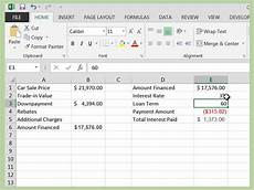 Car Loan Spreadsheet How To Calculate A Car Loan In Excel 10 Steps With Pictures