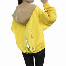 Light Yellow Coat Light Blue Yellow Hooded Coat Women Windbreaker Long
