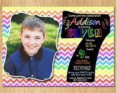 7th Birthday Invitation Card Printable 7th Birthday Invitation Rainbow Chevron Pastel Seventh Etsy