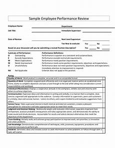 Employee Performance Review Sample Sample Employee Performance Review