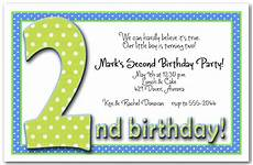 Second Birthday Party Invitations Green Amp Blue Polka Dots Boy S 2nd Birthday Party Invitations