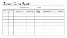 Cheque Record Book Format Business Cheque Register