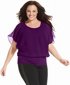 plus size sleeve tops style co plus size flutter sleeve banded hem top in