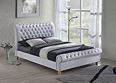 new luxury chesterfield 5ft king size white leather sleigh