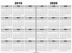 Calendar Print Out 2020 2019 And 2020 Calendar Printable 2019 2020 Years Light Print