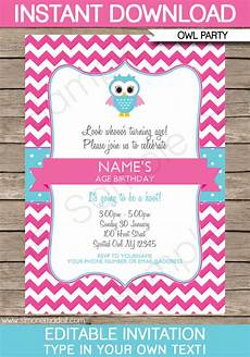 Pink Party Invitations Owl Party Invitations Pink Birthday Party Template