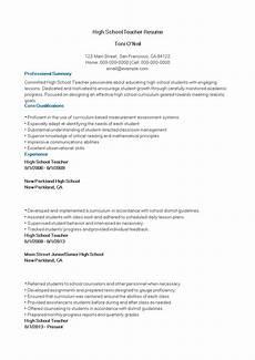 How To Create A High School Resume High School Teacher Resume Sample How To Create A High