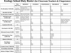 School Duty Roster Download Duty Roster Templates For Free Formtemplate
