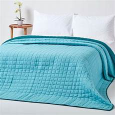 cotton quilted reversible bedspread teal blue 200 x 200 cm