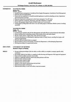 Plumbing Resume Samples Master Plumber Resume Samples Velvet Jobs