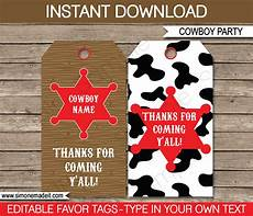 Party Favor Tag Cowboy Party Favor Tags Thank You Tags Birthday Party