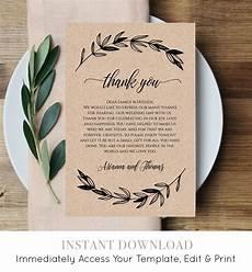 Wedding Thank You Postcard Template Printable Wedding Thank You Letter Reception Thank You