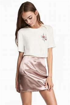 faldas kort korte satijnen rok poederroze h m be mode