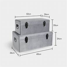 beautify set of 2 silver storage trunks chest metallic
