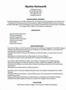 Office Manager Assistant Resumes 1 Assistant Front Office Manager Resume Templates Try