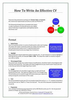How To Write A Effective Resume How To Write An Effective Cv