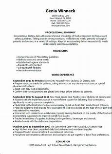 Dietary Aide Resume 1 Dietary Aide Resume Templates Try Them Now