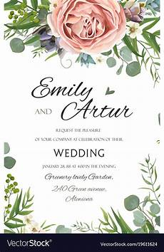 Save The Date Card Design Wedding Floral Invite Save The Date Card Design Vector Image