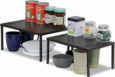 expandable stackable kitchen cabinet counter shelf
