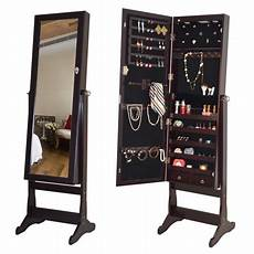 costway lockable mirrored jewelry cabinet armoire