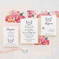 Pink Invitations Pink Peonies Wedding Invitations Calligraphy Fonts