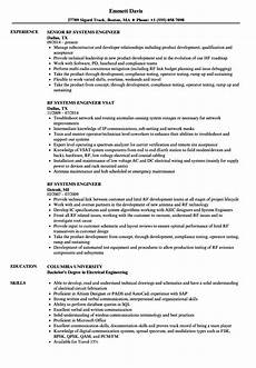 Systems Engineer Resume Rf Systems Engineer Resume Samples Velvet Jobs