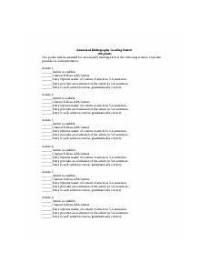 Annotated Bibliography Rubric Annotated Bibliography Peer Review Worksheet Annotated