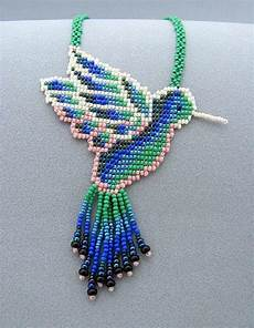 seed beaded hummingbird beadwork necklace jewelry