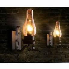Metal Lights Vintage Rustic Single Light Metal Wall Sconce Glass