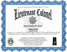 Officer Promotion Certificate Template Lieutenant Colonel Air Force Rank Display Recognition