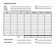 Timesheet Calulator Free Blank Time Card Template Ejebo