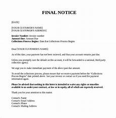 Letter For Final Payment Free 6 Final Notice Letter Templates In Pdf Ms Word