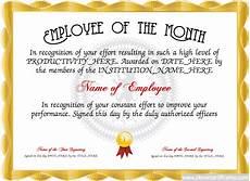 Employee Award Templates Free Employee Of The Month Certificate Designer Free